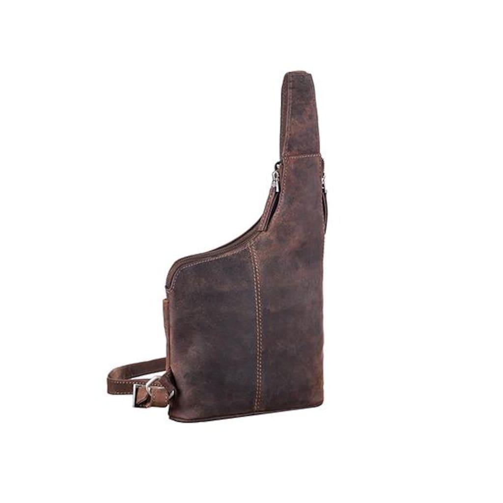 GreenLand Nature Umhängetasche »Stone«, aus hochwertigem Leder mit praktischem Reißverschluss-Vorfach