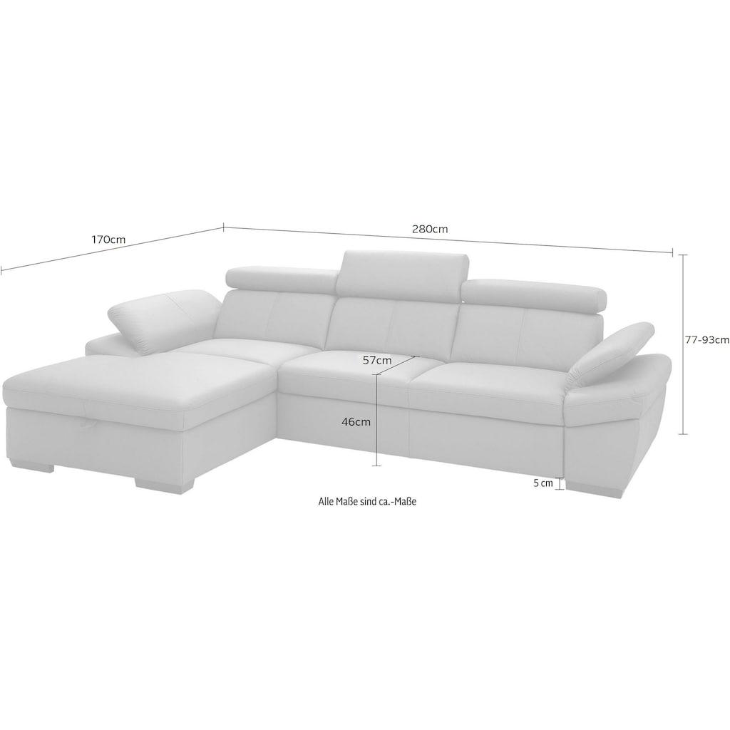 exxpo - sofa fashion Ecksofa, inklusive Kopfteil- und Armteilverstellung, wahlweise mit Bettfunktion