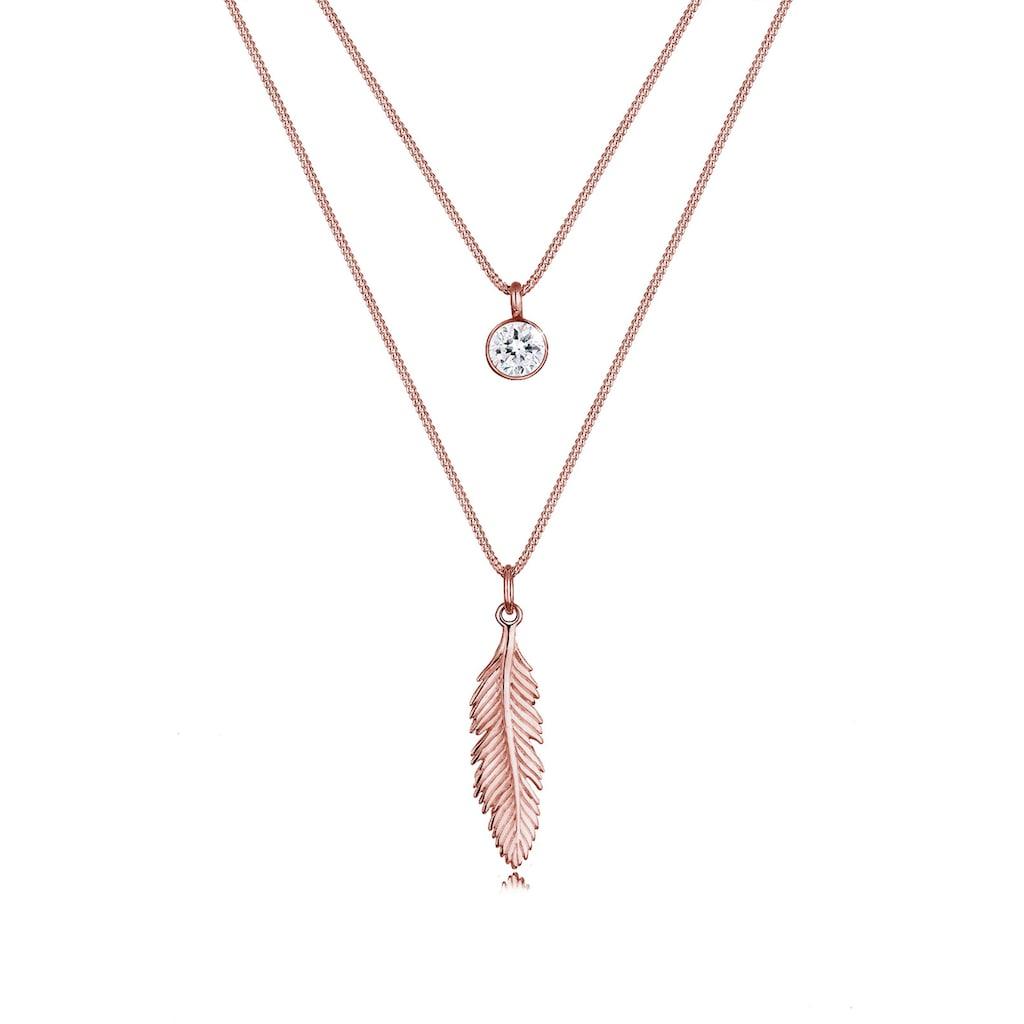 Elli Collierkettchen »Layer mit Feder und Kristalle«