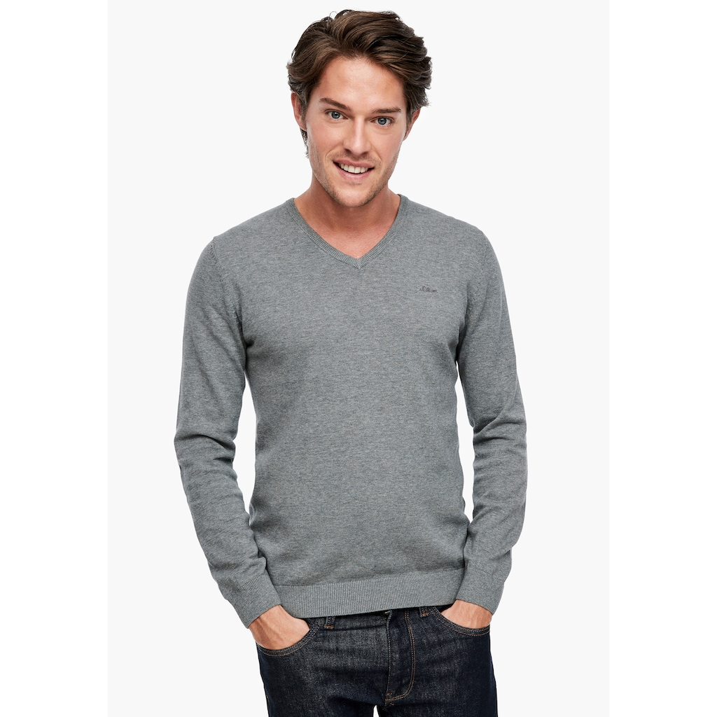 s.Oliver V-Ausschnitt-Pullover, Unifarben