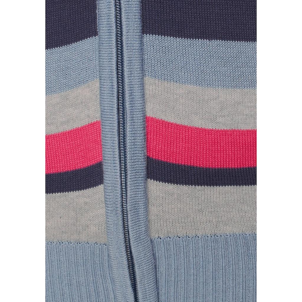 KangaROOS Kapuzenstrickjacke, im farbenfrohem Multicolor-Streifenmuster