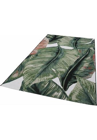 TOM TAILOR Teppich »Garden Leaf«, rechteckig, 3 mm Höhe, Flachgewebe, In- und Outdoor geeignet, Wohnzimmer kaufen