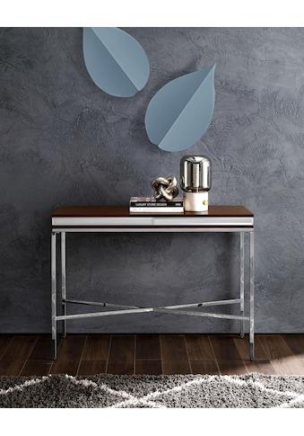 Leonique Konsolentisch »Adeline«, aus einem Edelstahlgestell und edler Holzablagefläche, im Industrial-Look kaufen