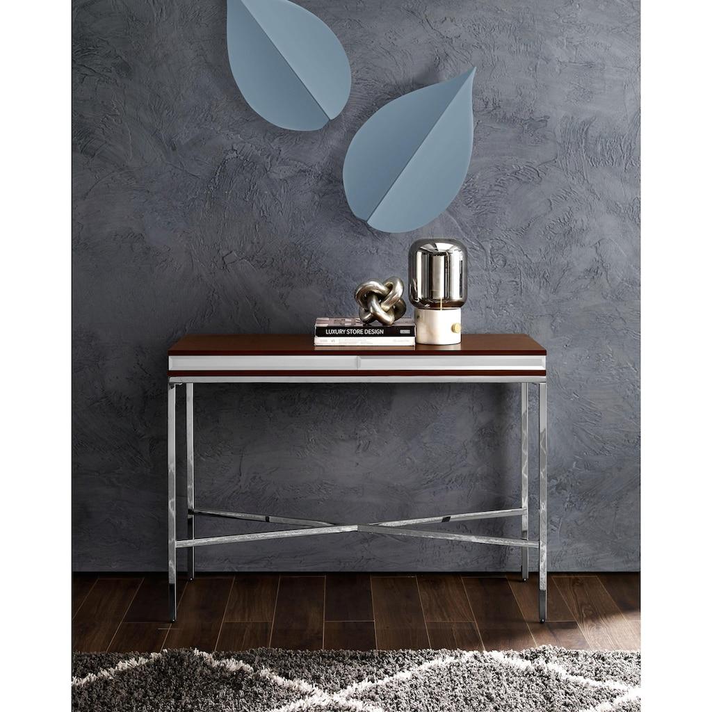 Leonique Konsolentisch »Adeline«, aus einem Edelstahlgestell und edler Holzablagefläche, im Industrial-Look