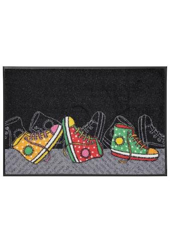 wash+dry by Kleen-Tex Fußmatte »Happy Sneakers«, rechteckig, 7 mm Höhe,... kaufen