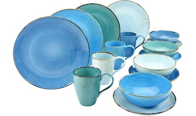 CreaTable Kombiservice »NATURE COLLECTION Aqua«, (Set, 16 tlg.), Trendaktuelle Blau-Töne kaufen