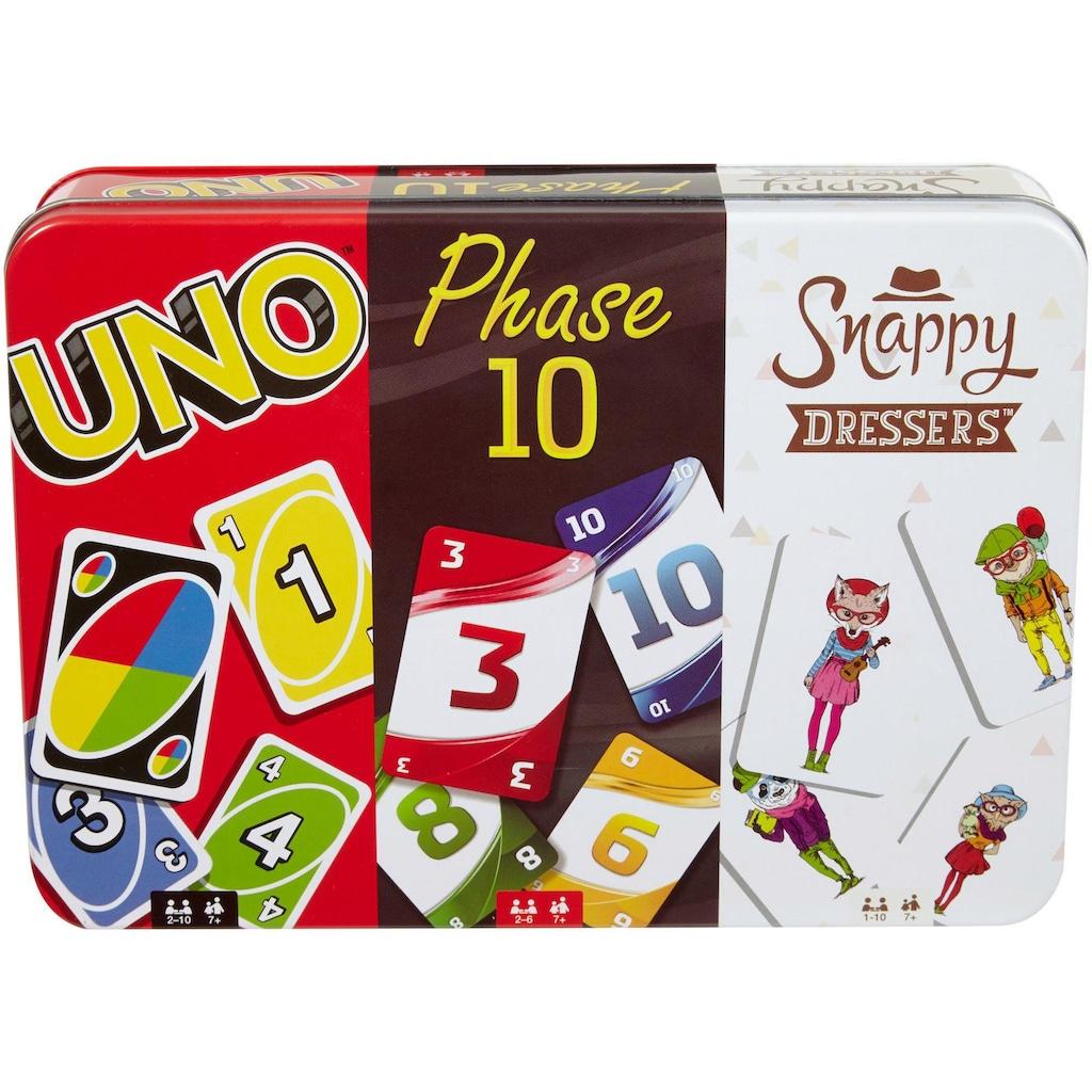 Mattel games Spiel »Kartenspiel-Klassiker in Metalldose: UNO, Phase 10, Snappy Dressers«