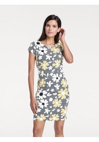 Druckkleid kariert Blumendruck Blumenkleid gemustert Rückenausschnitt floral Karo Blumen Flower Etuikleid Kleid Reißverschluss figurbetont bunt Baumwolle kaufen
