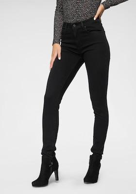 High Waist Skinny-Jeans in Schwarz
