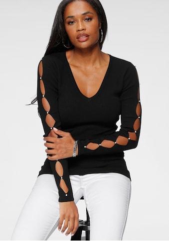 Melrose V-Ausschnitt-Pullover, mit Cut-Outs und Perlen kaufen