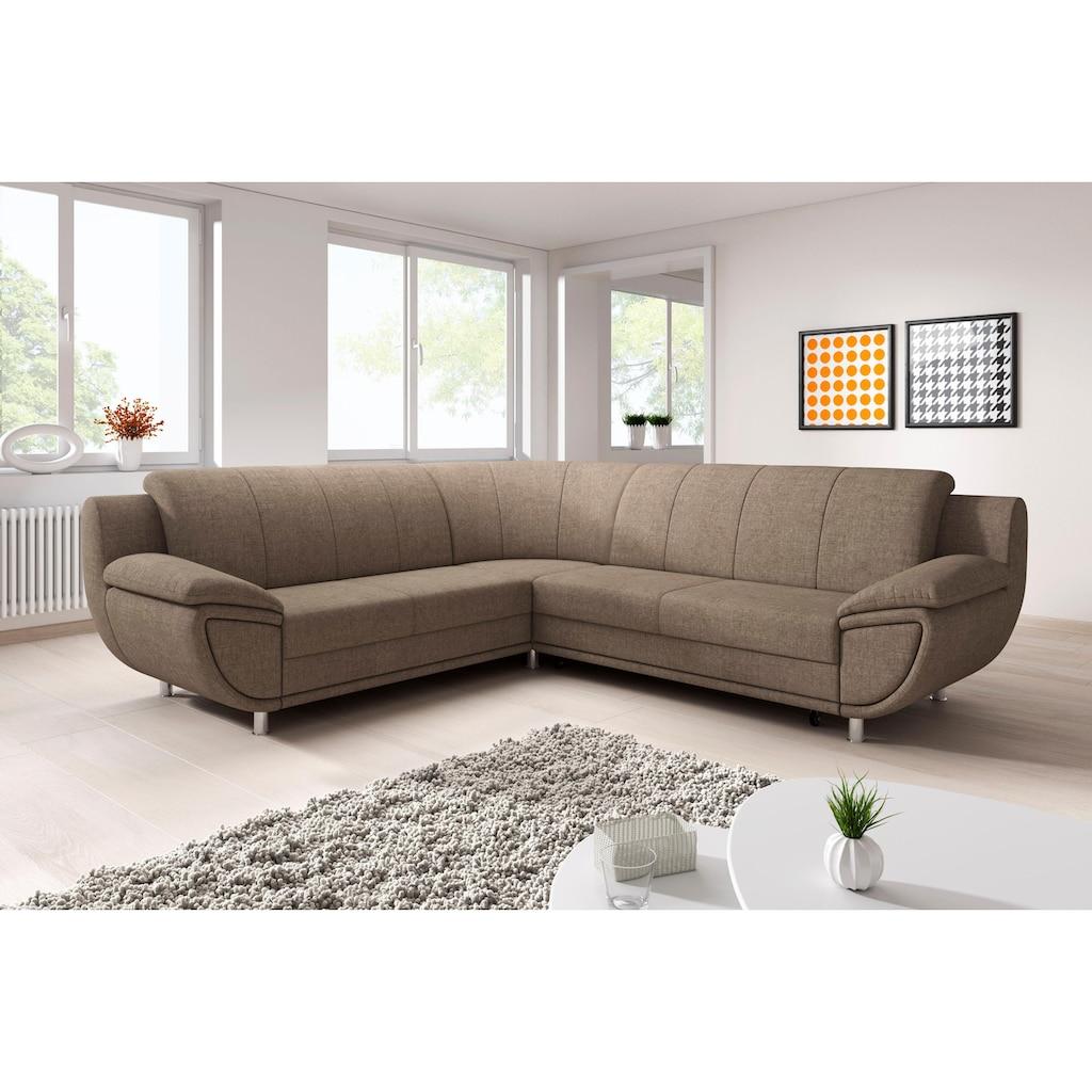 TRENDMANUFAKTUR Ecksofa, inklusive komfortablen Federkerns, wahlweise mit Bettfunktion