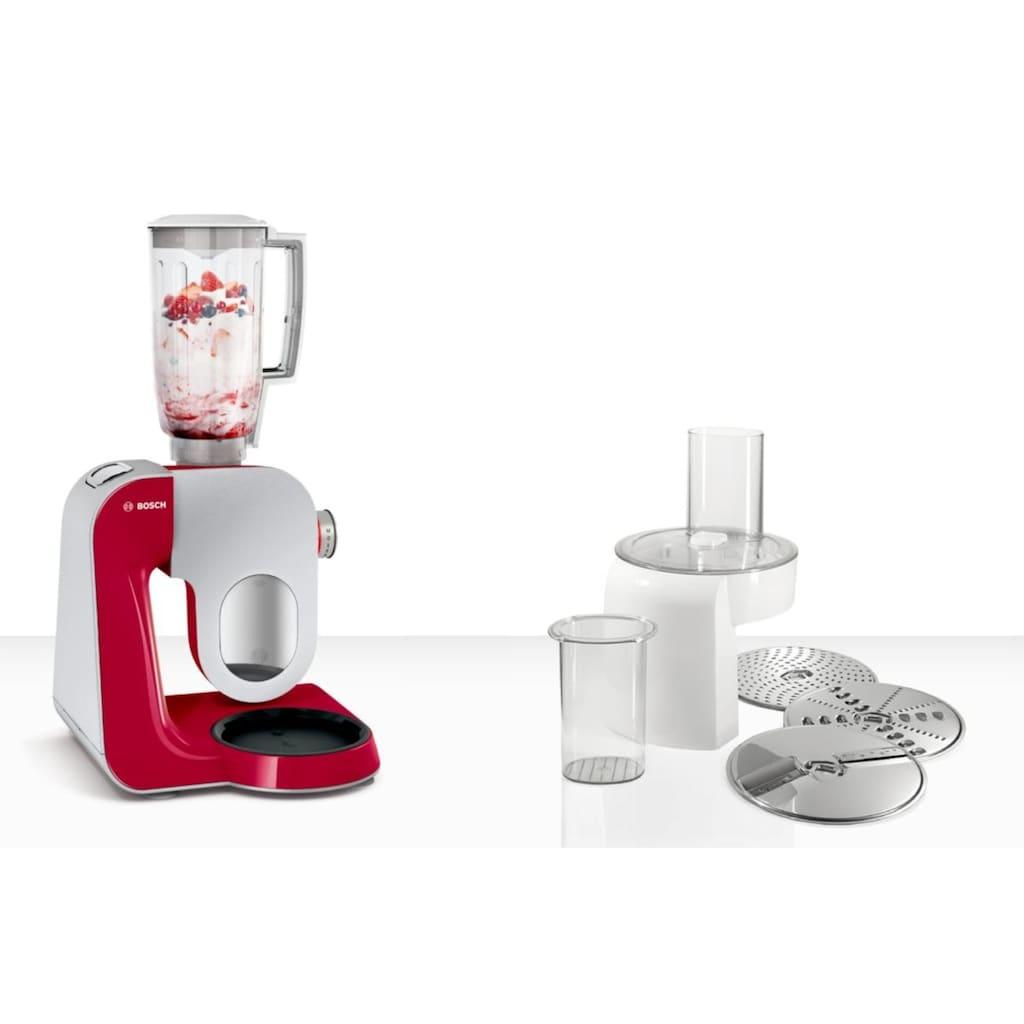 BOSCH Küchenmaschine »MUM5 CreationLine MUM58720«, vielseitig einsetzbar, Durchlaufschnitzler, 3 Reibescheiben, Mixer, deep red/silber