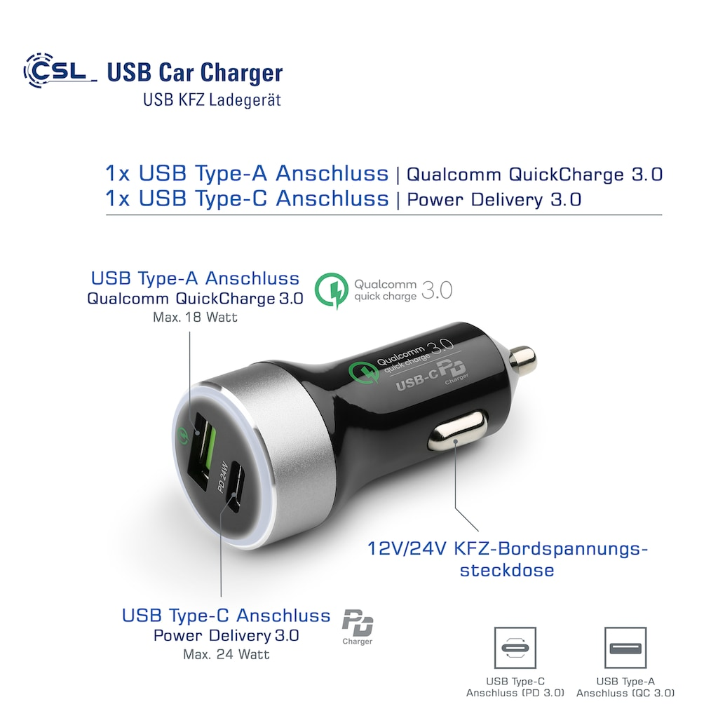 CSL USB-Ladegerät »CSL 42W Car Charger«