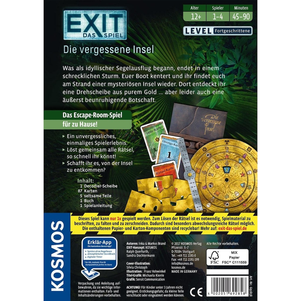 Kosmos Spiel »Exit Das Spiel, Die vergessene Insel«, Made in Germany