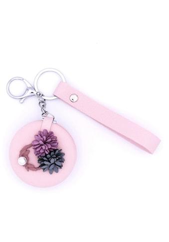J.Jayz Schlüsselanhänger »mit Blüten und rundem klappbaren Kosmetikspiegel«, mit Acrylperle kaufen