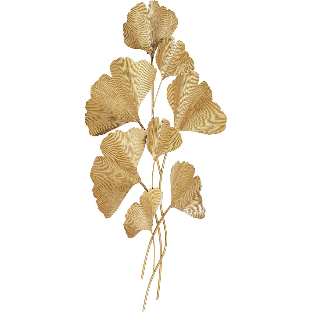 Leonique Wanddekoobjekt »Ginkgo, goldfarben«, Wanddeko, aus Metall, Wohnzimmer