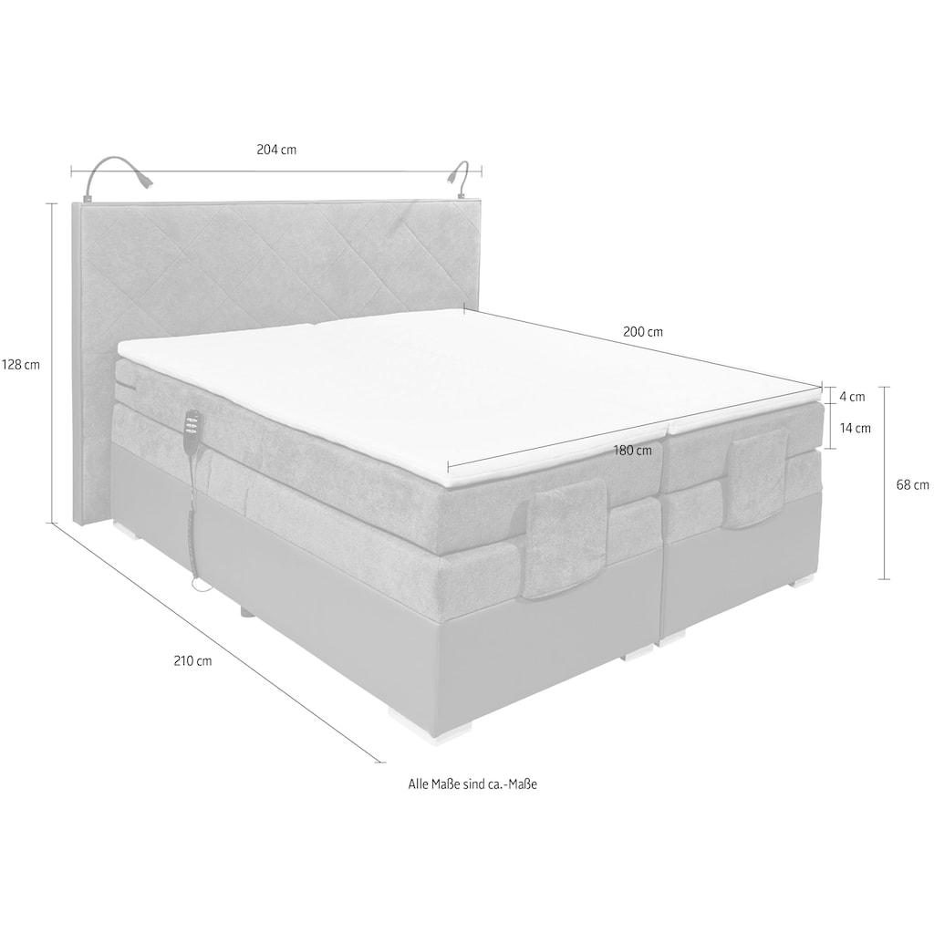 Boxspringbett »Trenton«, (5 tlg.), inkl. Motor und Topper, mit einer Komfortliegehöhe von 68 cm.