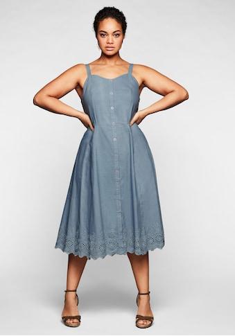 sheego by Joe Browns Trägerkleid, mit Zierknopfleiste und Lochstickerei kaufen