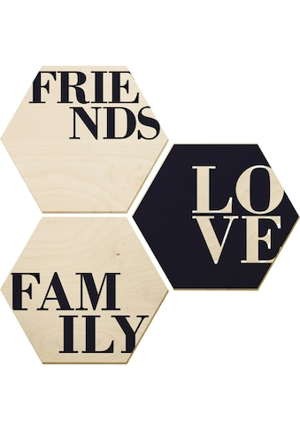 Wall-Art Holzbild »Love, Friends, Family«, (Set) kaufen