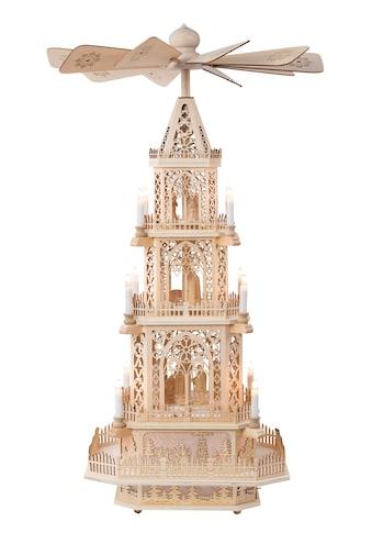 HGD Holz - Glas - Design XXL - Pyramide Gothik mit elektrischer Beleuchtung und Motor kaufen