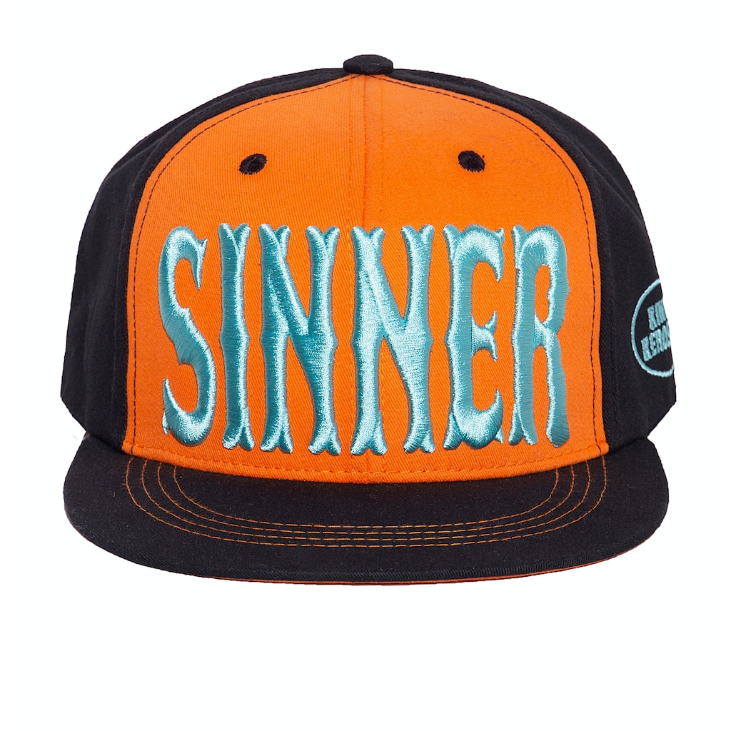 KingKerosin Flat Cap »Sinner 3D«, mit cooler 3D-Stickerei und Print