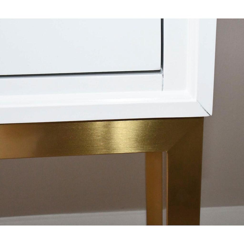 Leonique Konsolentisch »Mondi«, mit goldenen Metallbeinen, auch als Schminktisch geeignet
