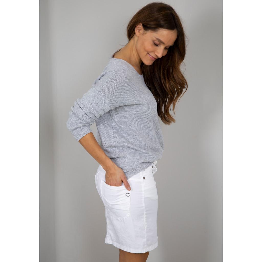 Please Jeans Minirock »G713«, stylischer Jeans-Mini-Rock mit Knopfleiste & leichter Crinkle-Optik