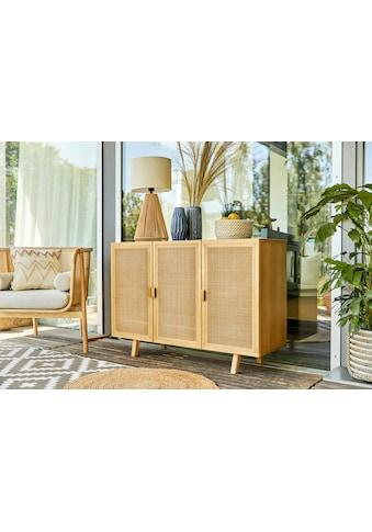 LeGer Home by Lena Gercke Sideboard »Lina«, Mit Rattan Einsatz, 4 Innenfächer, teilmassiv kaufen