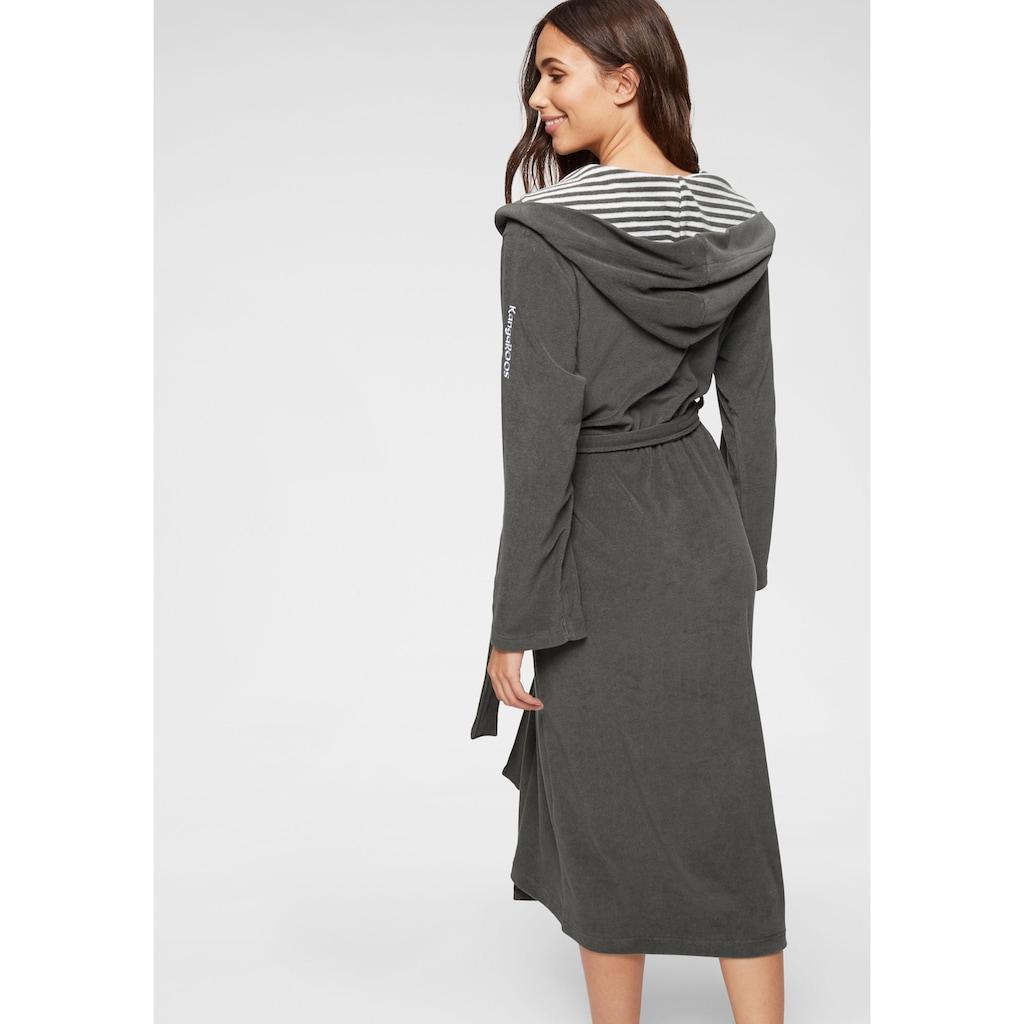 KangaROOS Damenbademantel »Dalia«, (1 St.), außen Unifarben und innen mit Streifen