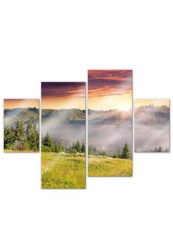 Wall-Art Mehrteilige Bilder »Bergtal im Nebel (4-teilig)«, (Set, 4 St.) kaufen