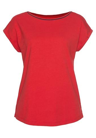 Esprit T-Shirt, mit kontrastfarbenem Paspel am Ausschnitt kaufen