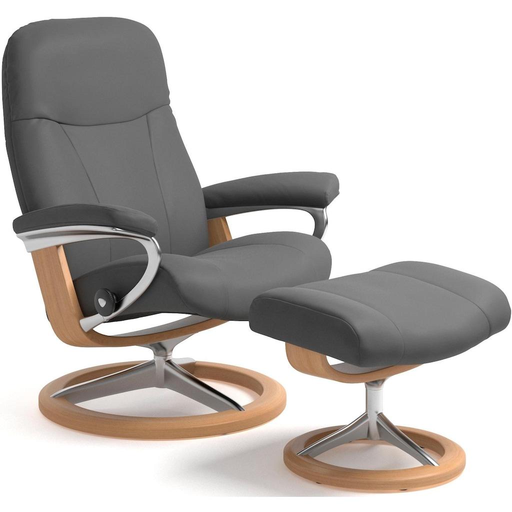 Stressless® Relaxsessel »Garda«, mit Hocker, mit Signature Base, Größe M, Gestell Eiche
