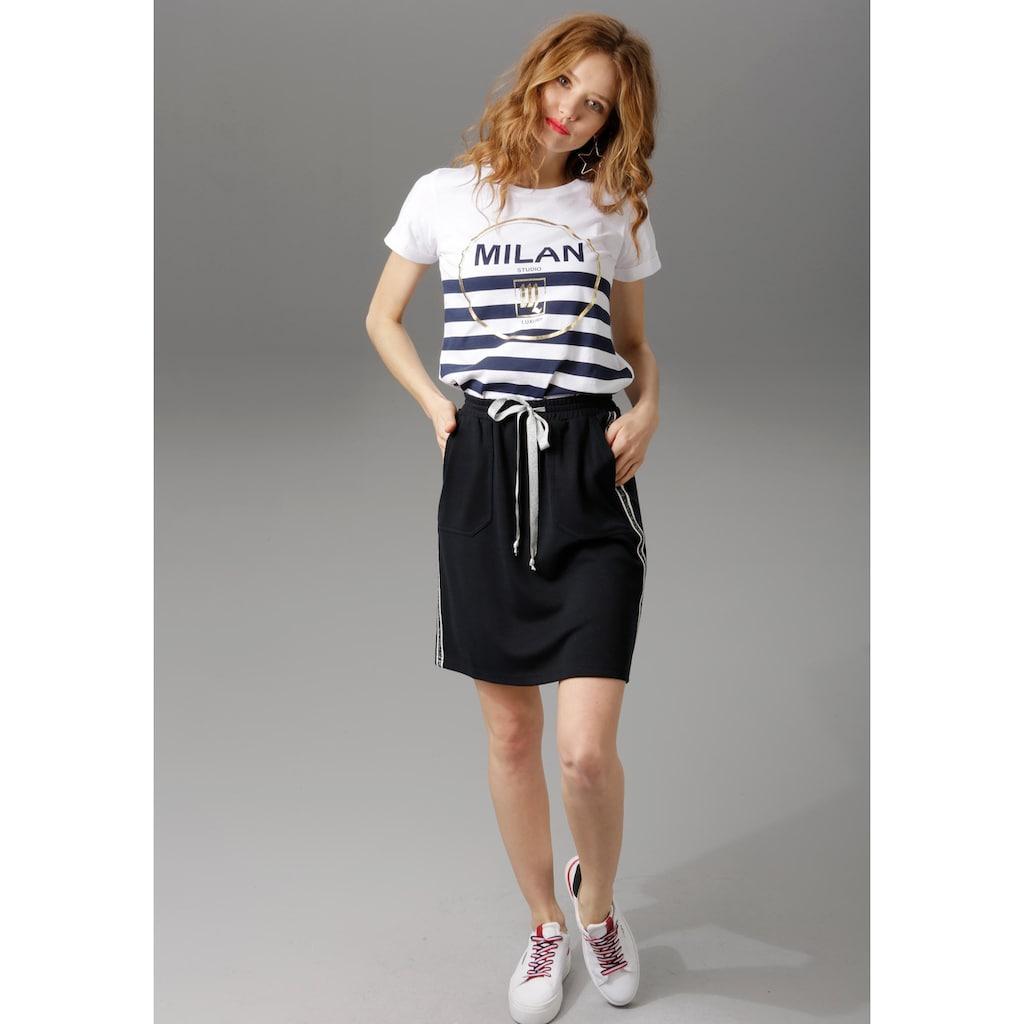Aniston CASUAL Sweatrock, mit Galonstreifen an den Seitennähten