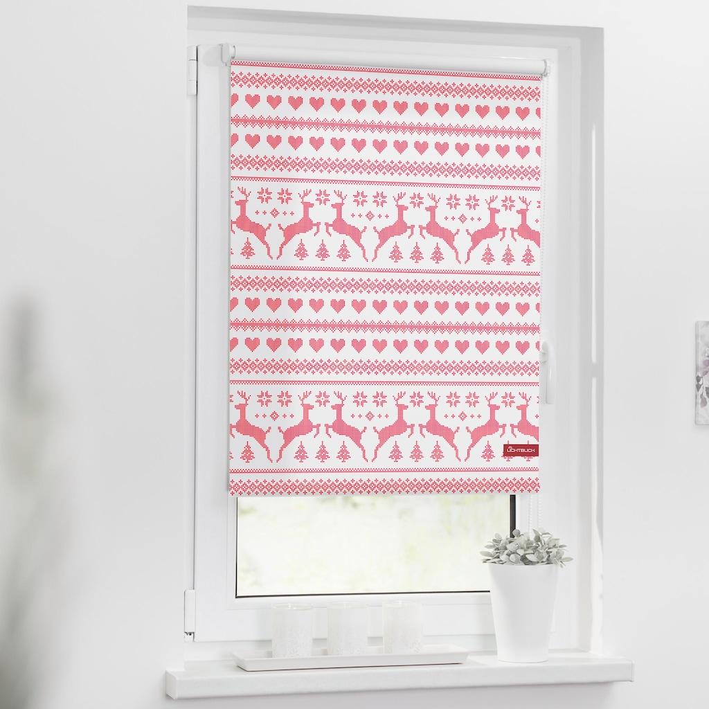 LICHTBLICK ORIGINAL Seitenzugrollo »Klemmfix Motiv Rentiere Muster«, Lichtschutz, ohne Bohren, freihängend, bedruckt