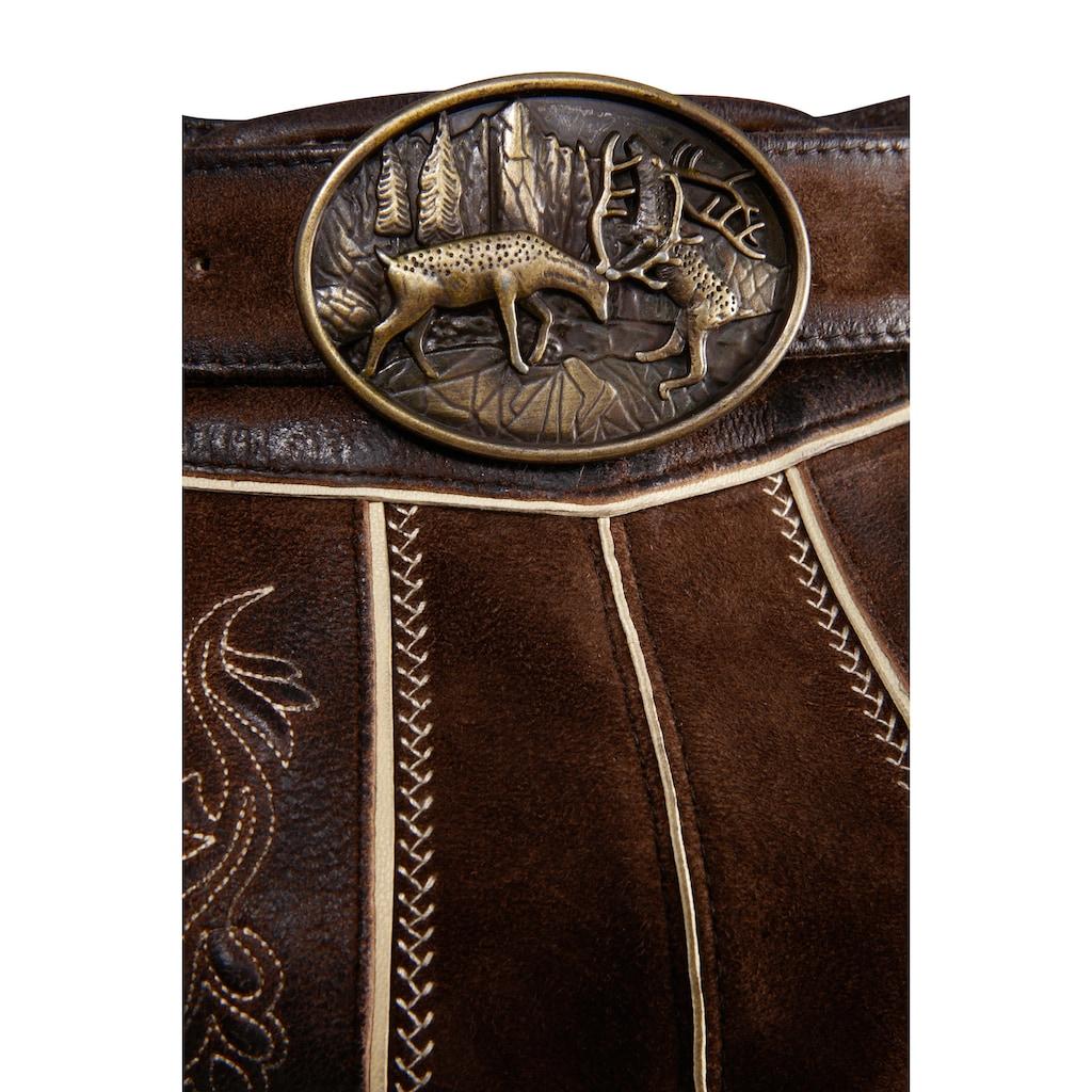 Country Line Trachtenlederhose, (2 tlg., mit Gürtel), mit Gürtel
