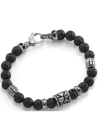 Firetti Armband »Totenkopf, teilweise geschwärzt«, mit Lavastein-Kugeln kaufen