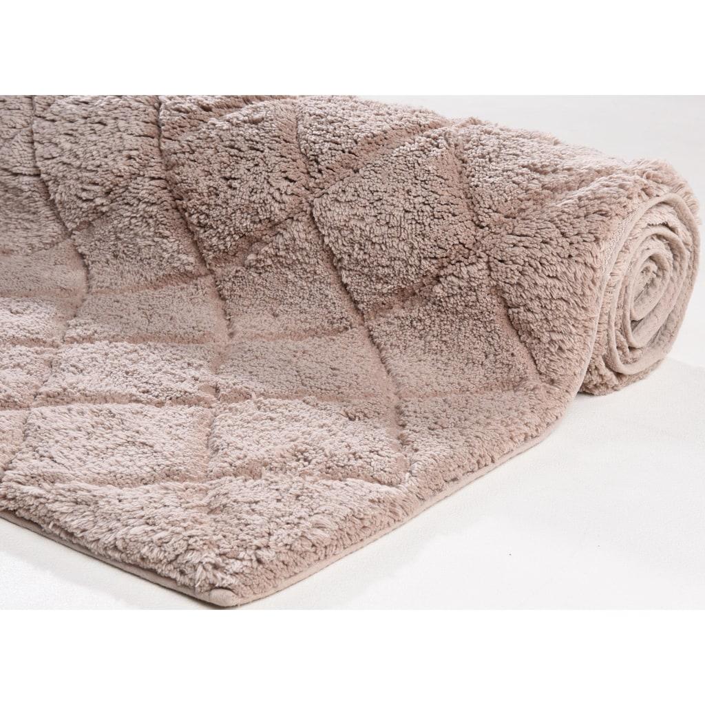 TOM TAILOR Badematte »Cotton Diamond«, Höhe 20 mm, rutschhemmend beschichtet, fußbodenheizungsgeeignet-strapazierfähig, besonders weich und flauschig