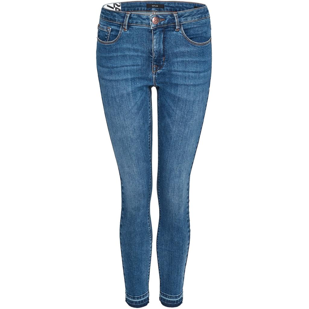 OPUS Skinny-fit-Jeans »Elma«, mit offener, fransiger Saumkante