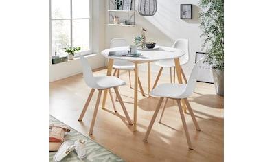 INOSIGN Essgruppe »Veneto«, (5 tlg.), aus massivem Kiefernholz, bestehend aus Cody Esstisch 105 cm und 4er Set Veneto Stühle kaufen