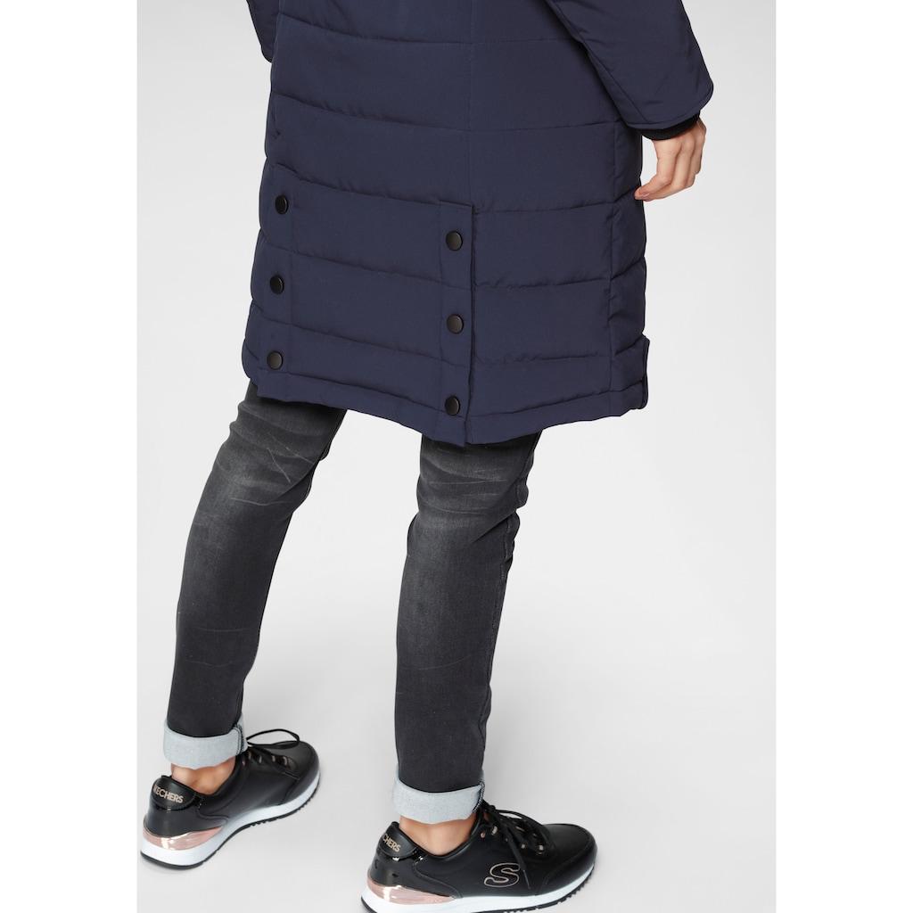 ALPENBLITZ Steppmantel »Oslo long«, hochwertiger Steppmantel mit Markenprägung auf dem elastischem Gürtel und abnehmbarer Kuschel-Kapuze