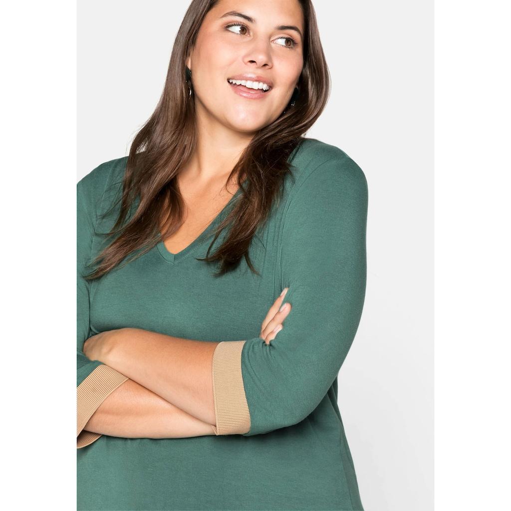 Sheego Longshirt, mit kontrastfarbenen Rippbündchen
