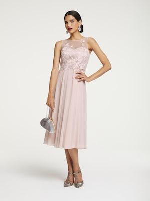 rosa Cocktailkleid mit Spitze