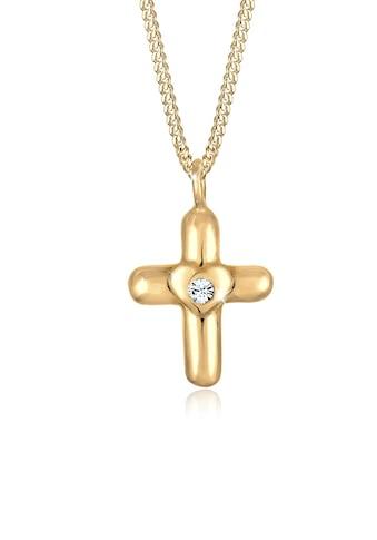 Elli Kette mit Anhänger »Kinder Kreuz Herz Cute Kristalle Silber« kaufen