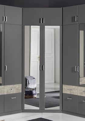 grauer Eckkleiderschrank mit Spiegeltüren