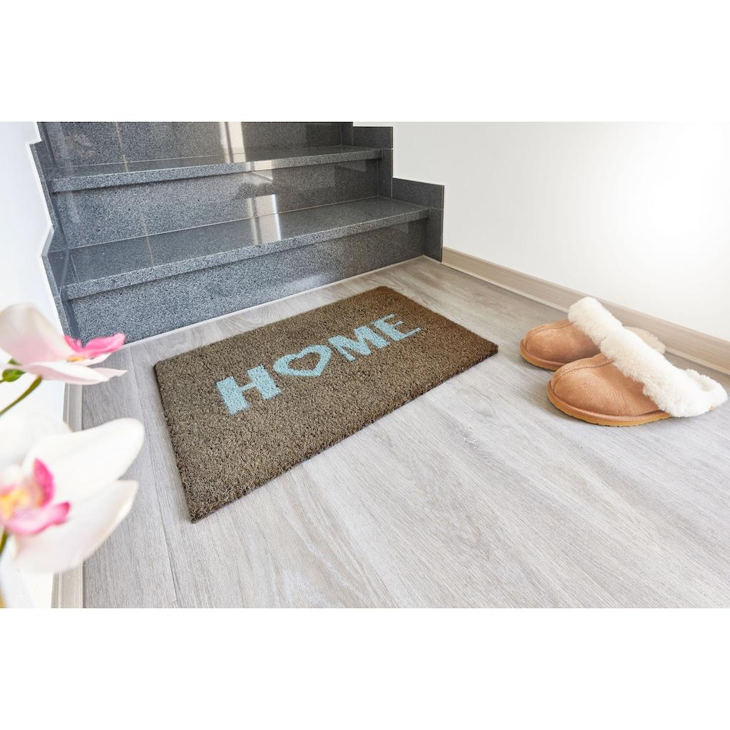Andiamo Fußmatte »Kokos Home Heart«, rechteckig, 15 mm Höhe, Schmutzfangmatte, Kokosmatte, mit Spruch, In- und Outdoor geeignet