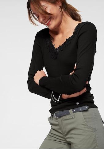 AJC Langarmshirt, tiefer V-Ausschnitt mit Spitze kaufen