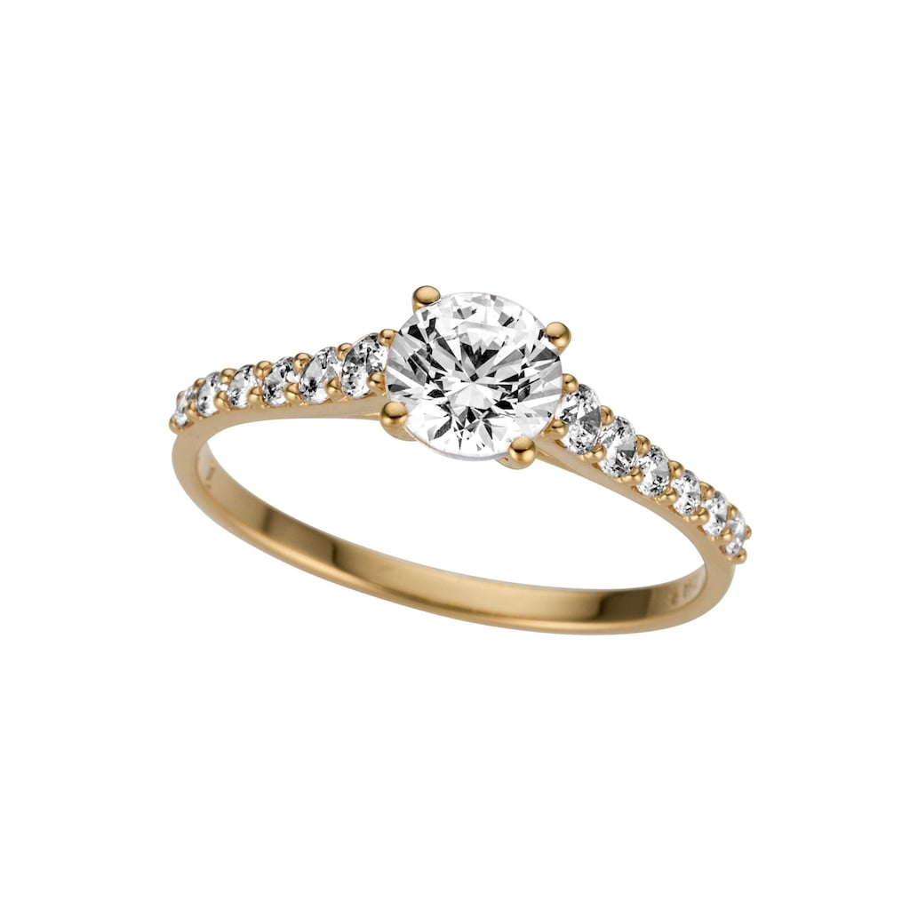 Firetti Goldring »glamourös, glänzend, massiv, Gelbgold«, mit Zirkonia