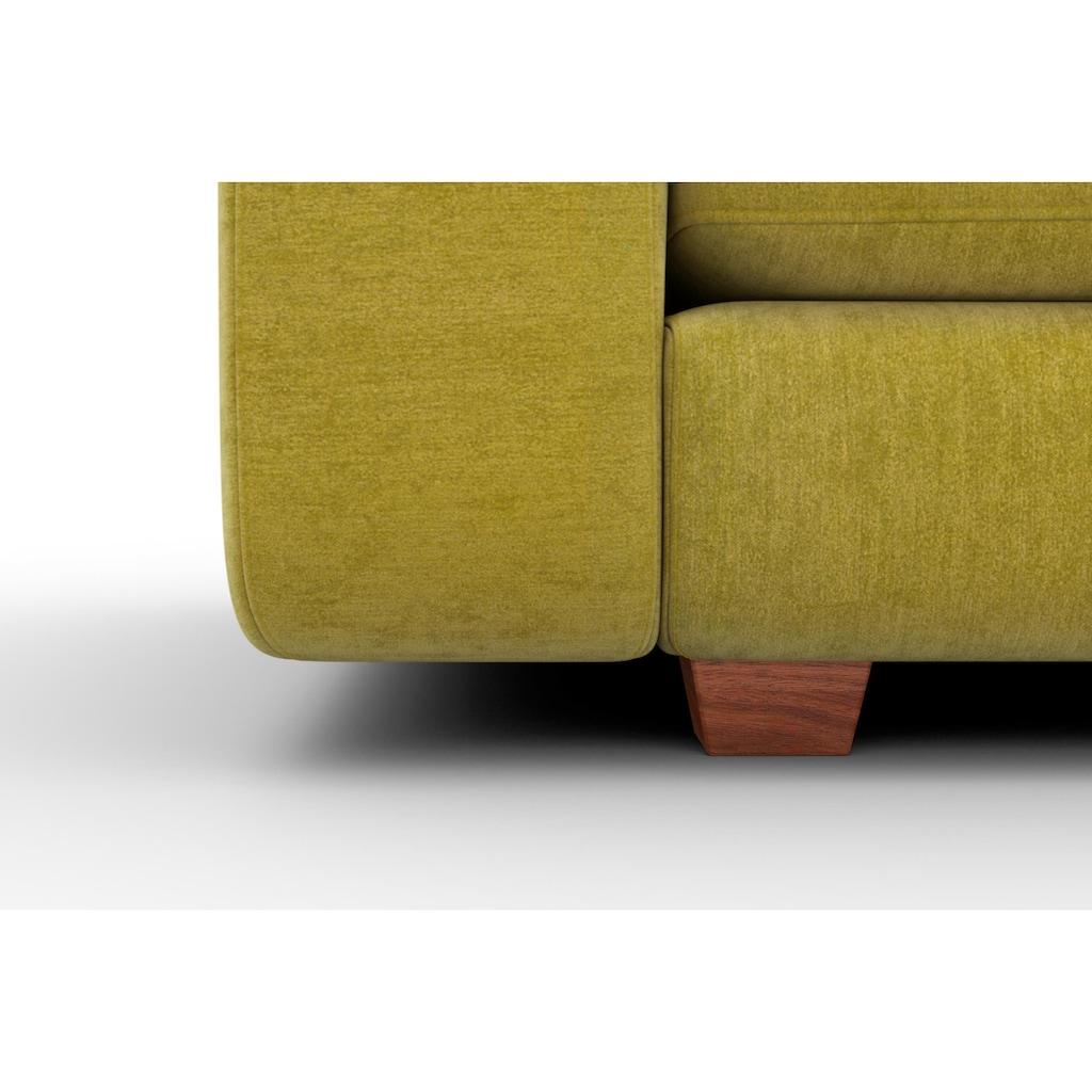 machalke® 3-Sitzer »valentino«, mit breiten Armlehnen, Füße Walnuss, Breite 221 cm