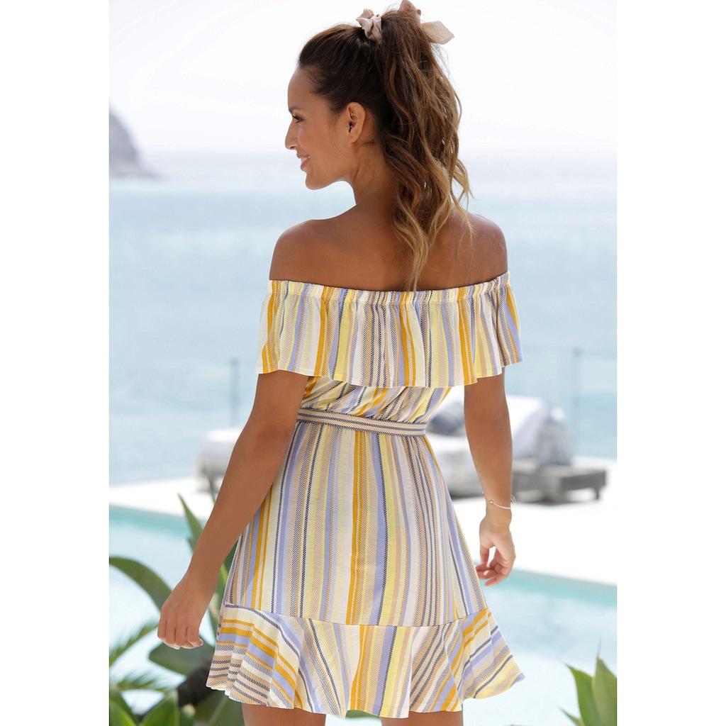 Venice Beach Strandkleid, (mit Bindegürtel), mit Streifenprint