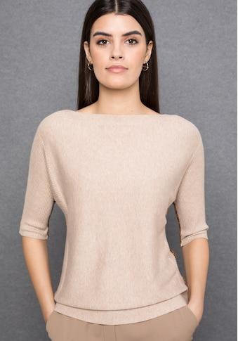 bianca 3/4 Arm-Pullover »OLINDE«, in Ripp-Struktur mit Farbakzenten kaufen
